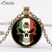 SONGDA Vintage Skeleton Pendant Necklace Mexican Flag Creative Printed Glass Cabochon Handmade Necklace Day of the Dead Jewelry(China)