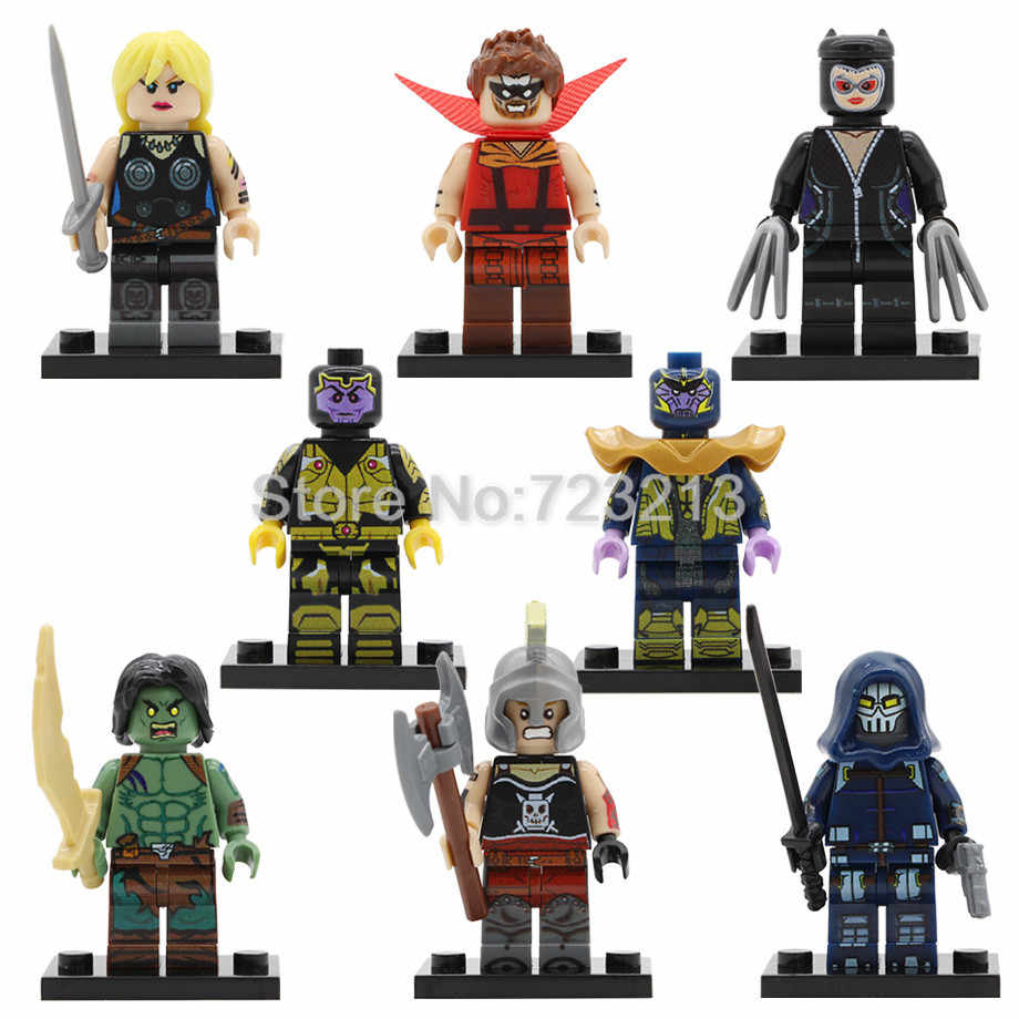 Super Hero Valkyrie Figure Marvel Taskmaster Thanos son Sion Hulk Ares Catwoman Building Blocks ชุดของเล่นเด็ก Legoing