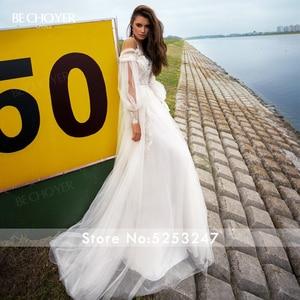 Image 5 - Vestidoデnoiva恋人アップリケレースのウェディングドレス2020ボヘミアンイリュージョンパフスリーブaラインプリンセスbechoyer PA03花嫁