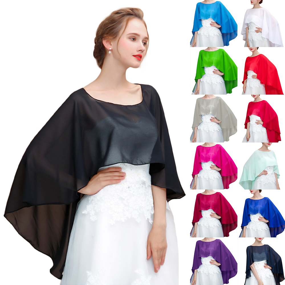 Women Wedding Cape Soft Lightweight Black Chiffon Bridal Shawl High Low Long Formal Wrap Red Evening Capes White Navy Blue Ivory