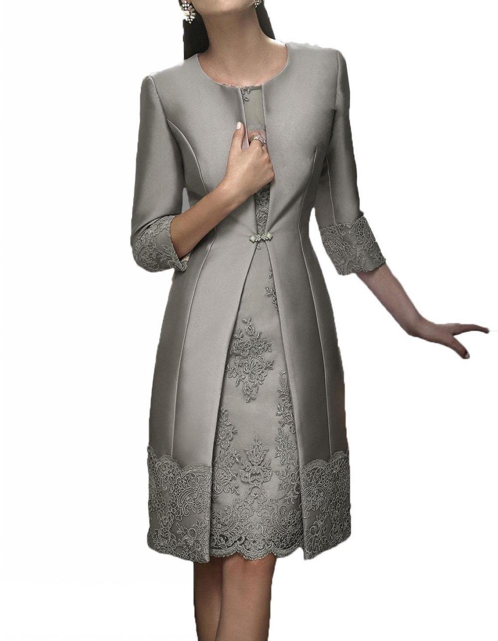 Suit-Gown Jacket Short Guest-Dresses Formal-Wear Mother-Of-The-Bride-Dress Wedding Elegant