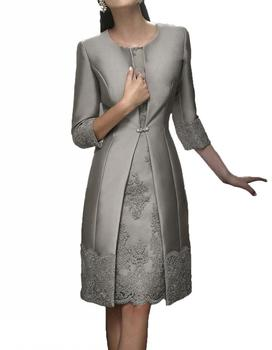 Elegant Short Mother Formal Wear With Jacket Evening Satin Lace Party Wedding Guest Dresses Mother Of The Bride Dress Suit Gown