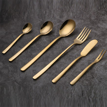 1PC Korean style golden stainless steel knife fork spoon dessert coffee spoon chopsticks fruit salad fork butter knife tableware