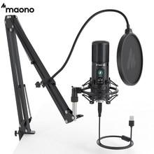 MAONO – Microphone professionnel à condensateur cardioïde PM421, 192KHZ/24 bits, USB, avec bouton de Gain, muet et à une touche, pour Podcast