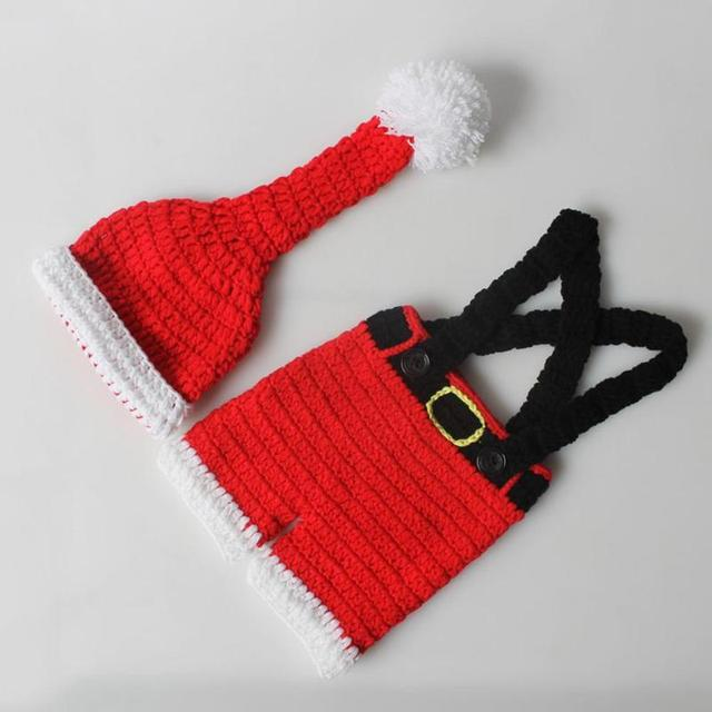 Newborn Infant Christmas Theme Photography Props Clothing Suspender Trousers+Hat European Children's Photographic Costumes 4