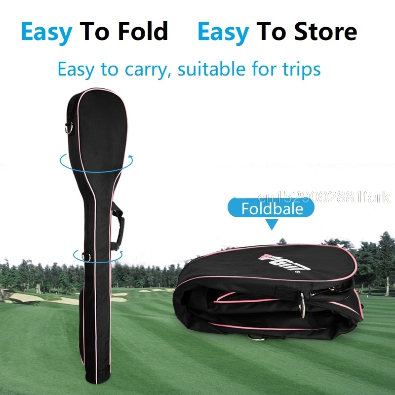 Hc82de276407f47c48e9376dbf06705f7U New Pgm Mini Golf Gun Bag Foldable Design Portable Gun Bag Hold 8-9 Clubs High Capacity Shoulder Club Golf Bags For Men Women