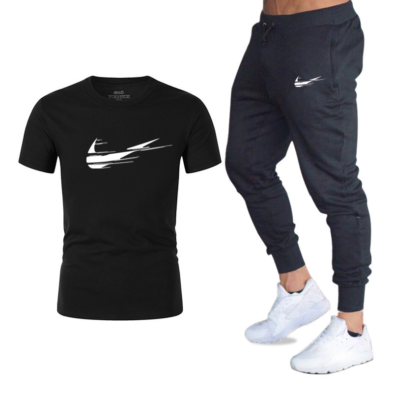 New Style Summer Day Ouma Men Leisure Set Popular Brand Printed T-shirt Sports Set MEN'S T-shirt Pants Fitness Pants