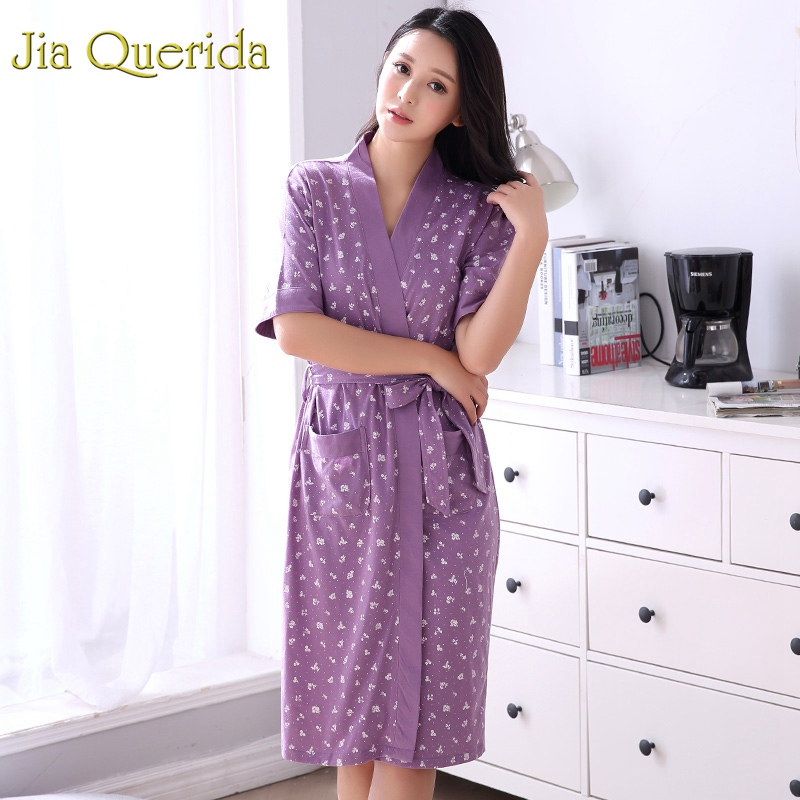Robe Women's Summer Short Sleeves Bathrobe Plus Size Bath Robe Belted Women Kimono Lavender Floral Cotton Lingerie Kimono Robes