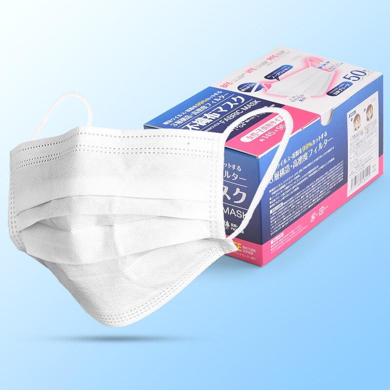 Japan White Protection Masks Disposable Women Children Prevent Breathe 3-floors Filter Face Mouth Mask Office Safety Masks