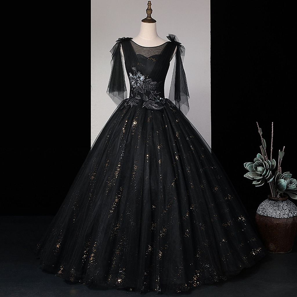 European Black Celebrity Dresses A-LINE Organza Sleeveless O-Neck Sequined Beading Wedding Party Guests Prom Evening Gowns 2021