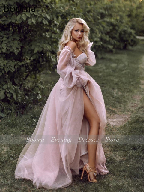 Sweet Dusty Pink Prom Dresses 2021 Off Shoulder Long Sleeves Princess Party Dresses Crumpled Tulle A-Line Formal Evening Gowns 6