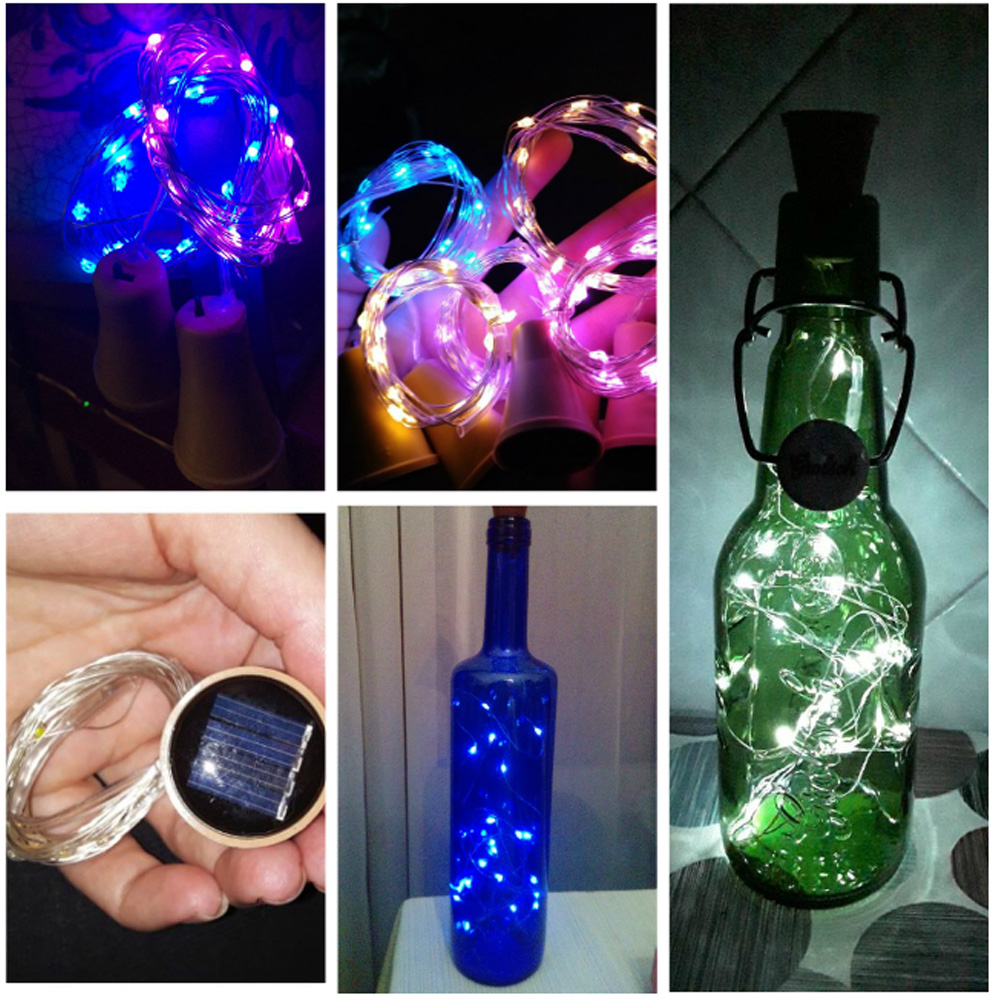 20leds 2M LED Solar Lights Powered Wine Bottle Cork Shape LED Fairy Copper Garland Festoon Wire String Lights Christmas Shining