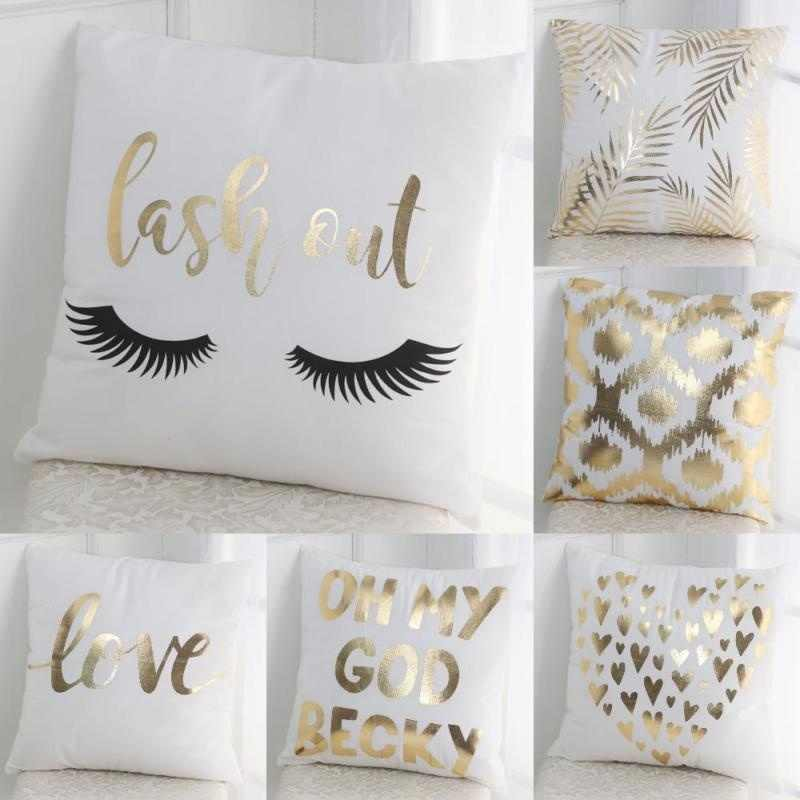 Golden Pillow Nordic Square White Printing Simple Household Cotton Removable and Washable Livingroom ornament cushion cases cove