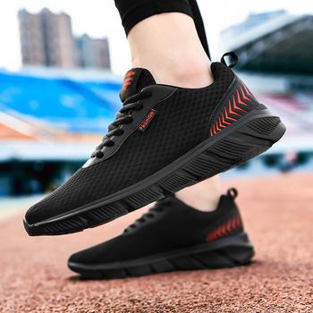 2020 nowych moda letnie męskie buty na co dzień wygodne lekkie męskie buty Mesh oddychające męskie buty do chodzenia Zapatillas tanie i dobre opinie NoEnName_Null Flyknit Przypadkowi buty RUBBER Lace-up Pasuje prawda na wymiar weź swój normalny rozmiar Podstawowe Lato
