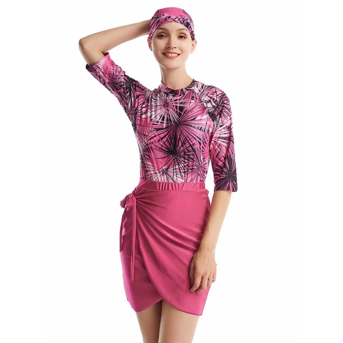 Frauen Rashguard Bademode Body + Rock + Kappe rose red 1.jpg