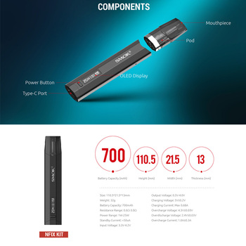 SMOK – Kit de stylo vapoteur Nfix Pod, nouvelle couleur, batterie 700mAh, cartouche de dosette 3ML DC MTL, vaporisateur de cigarettes électroniques VS NOVO Infinix