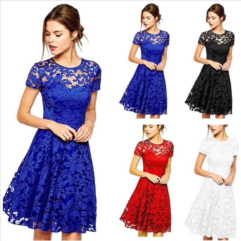 Women O Neck Royal Blue Lace Short Sleeve A Line Elegant Cocktail Dress 2020 Girls White Mini Dresses Summer Robe Courte Femme