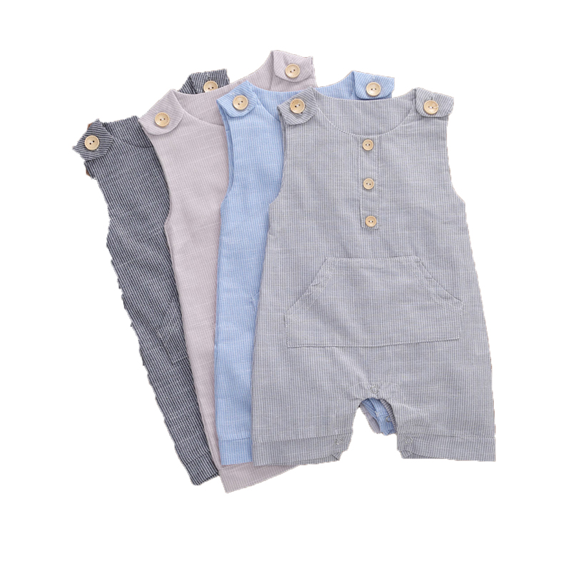 2020 Baby Summer Clothing Newborn Baby Boys Buttons Striped Romper Fashion Sleeveless Romper Cotton Linen Jumpsuit