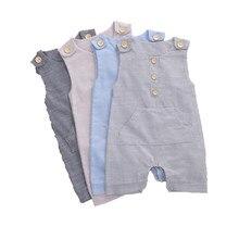 2020 abbigliamento estivo per neonati neonati bottoni pagliaccetto a righe moda pagliaccetto senza maniche tuta in lino di cotone