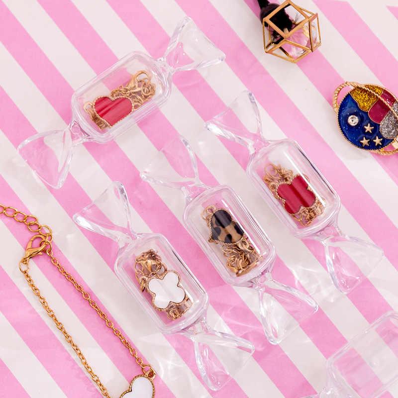 Lindos pendientes con forma de caramelo para niñas adolescentes bolsa de joyería transparente caja de almacenamiento de maquillaje Mini organizador portátil de viaje para cosméticos