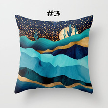 Geometric Cover Pillow Case for Living Room Home 45x45cm Mountain Sun Whale