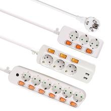 연장 코드 1.5/2.5M 전원 스트립 10/16A 250V 과부하 보호 개별적으로 전환 된 EU 플러그 2/3/4/5/6 연장 소켓 USB