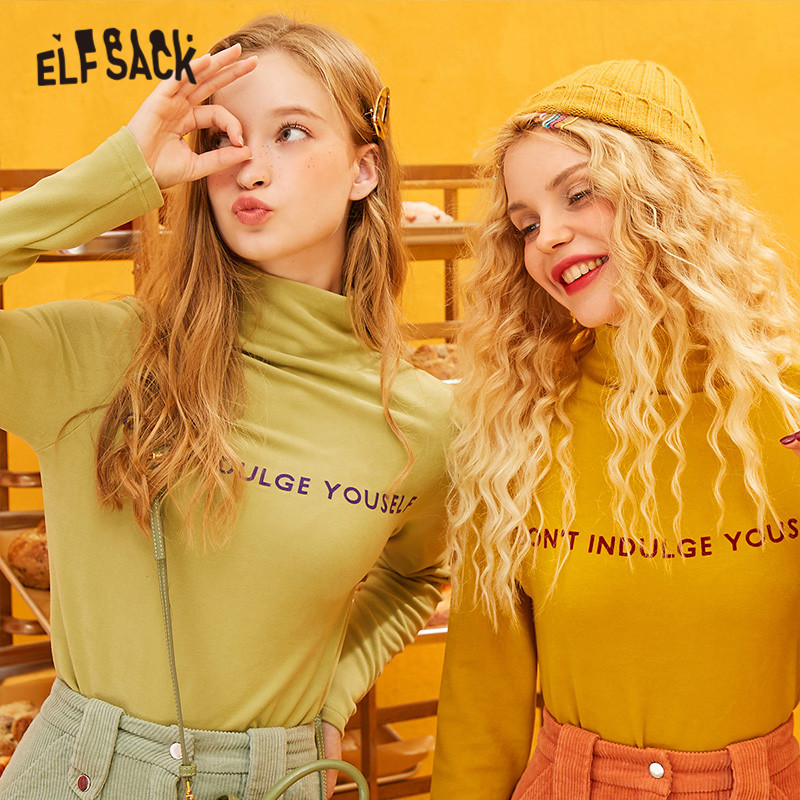 ELFSACK Yellow Solid Letter Print pullover Women Sweater 2019 Winter Green Pure Long Sleeve Slim Basic Office Ladies Daily Tops