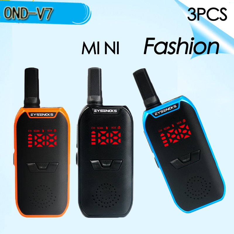 (3 PCS)OND-V7 MINI Walkie Talkie VOX Voice Control UHF 400-470MHz VOX Function Walkie Talkie Radio Transceiver With Earpiece