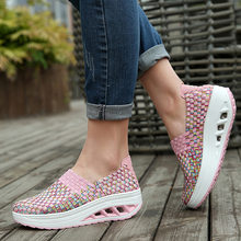 Comfortable summer shoes woman platform sneakers 2021 new fashion breathable woven wedges sneakers women shoes tenis feminino