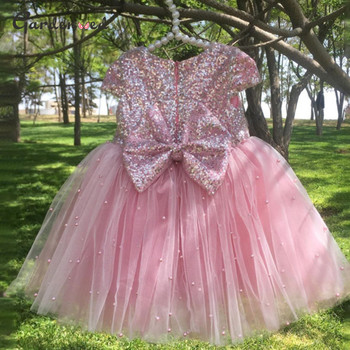 Gardenwed Sequin Pearls Ball Gown Flower Girl Dresses Pink Bow Princess Dress Lovely Wedding Party