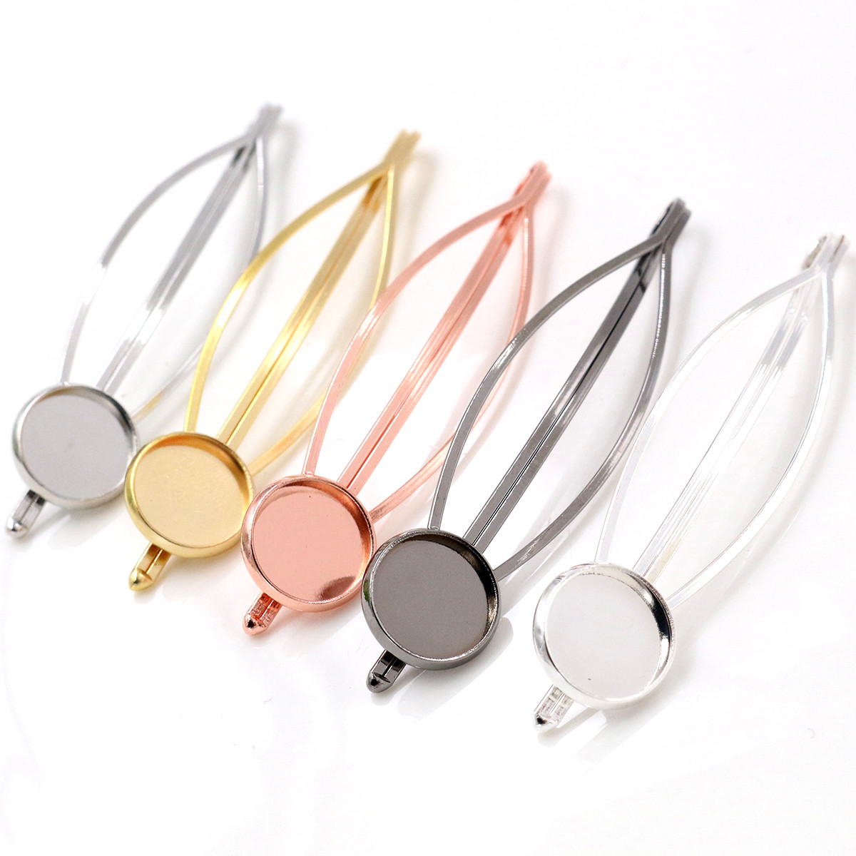 New Style 12mm 10pcs High Quality 5 Colors Plated Copper Material Popular Hairpin Hair Clips Hairpin Base Setting Cameo