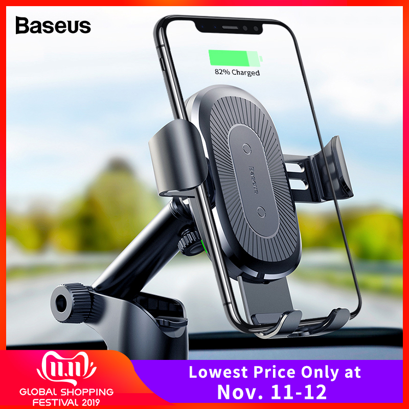 Baseus 10W Wireless Car Charger For IPhone 11 Pro Xs Max Samsung S10 Note 10 Qi Wireless Charger Fast Charging Car Phone Holder