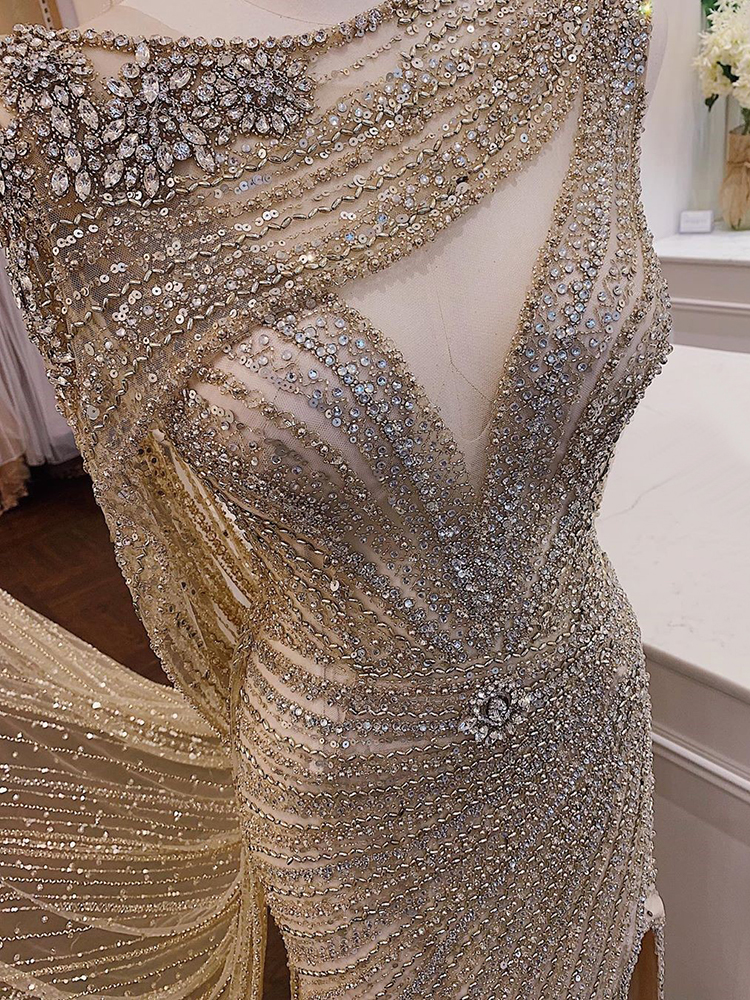 Formal-Dress Beading Champagne Evening-Dresses Serene Hill Diamond Mermaid Sexy Luxury