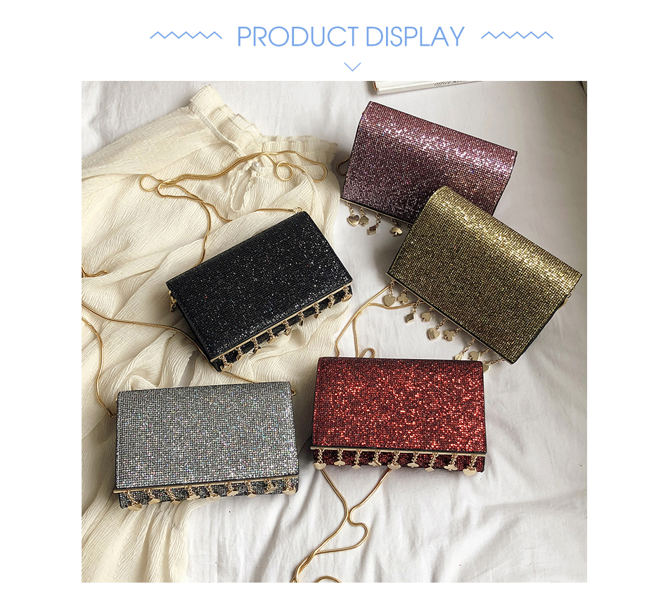 Hc82faa210f76461596e786c8663840c3c - Women Sequin Glitter Evening Clutch Bag Ladies Sparkly Design Wedding Party Shiny Handbag Lady Chain Metal Shoulder Bag