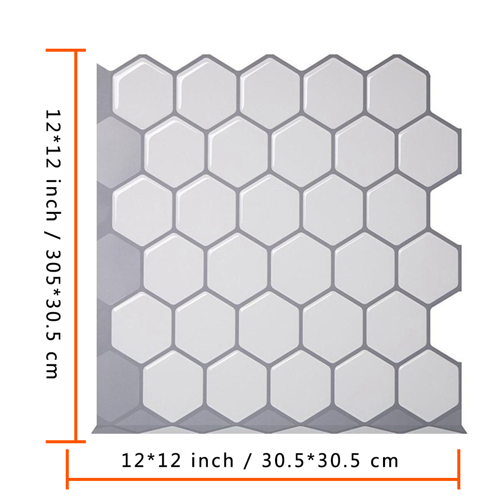 hexagon peel and stick tiles vinyl wallpaper waterproof 3d strong adhesive wall tiles