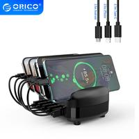 ORICO USB Charger Station Dock with Holder 40W 5V2.4A*5 USB Charging Free USB Cable for iphone ipad PC Kindle Tablet 1