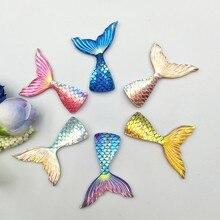 Écailles de poisson sirène 28x40mm, 10 pièces/lot, queue en résine, mariage et exposition de sirène, accessoires d'artisanat, bricolage