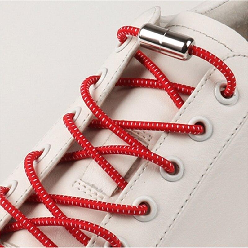 Reflective Shoelaces Elastic Shoe Laces Round Metal Lock No Tie Shoe Lace Convenient Quick Leisure Sneakers Lazy Laces 1 Pair