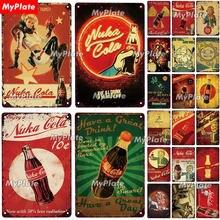 Pôster de parede metálico nuka, placa de lata para bar, clube e caverna, vintage personalizado personalizado