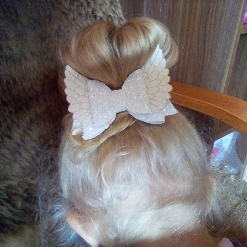 Angel Wings Bow Baby Hair Clips In Baby Girls Hair Accessories &Pins Glitter Bling Bling Headmade Solid Baby Hairband  Newborn