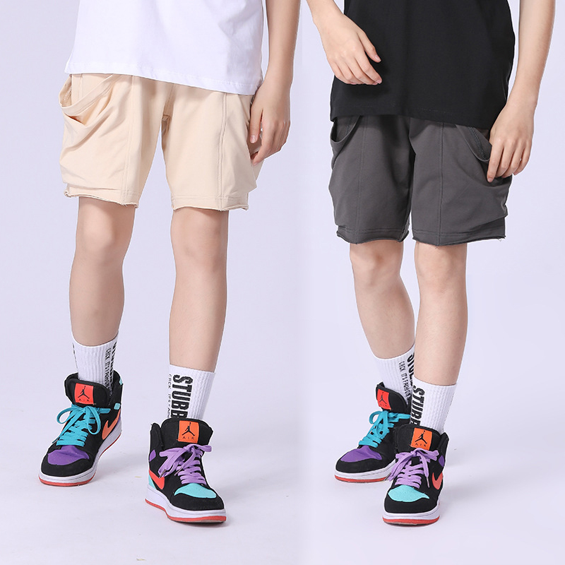Boys Summer Shorts 2021 New Cotton Oversize Sport Pants for Boy Clothes Loose Pocket Trend Teenagers Shorts 10 12 Y Kids Pants