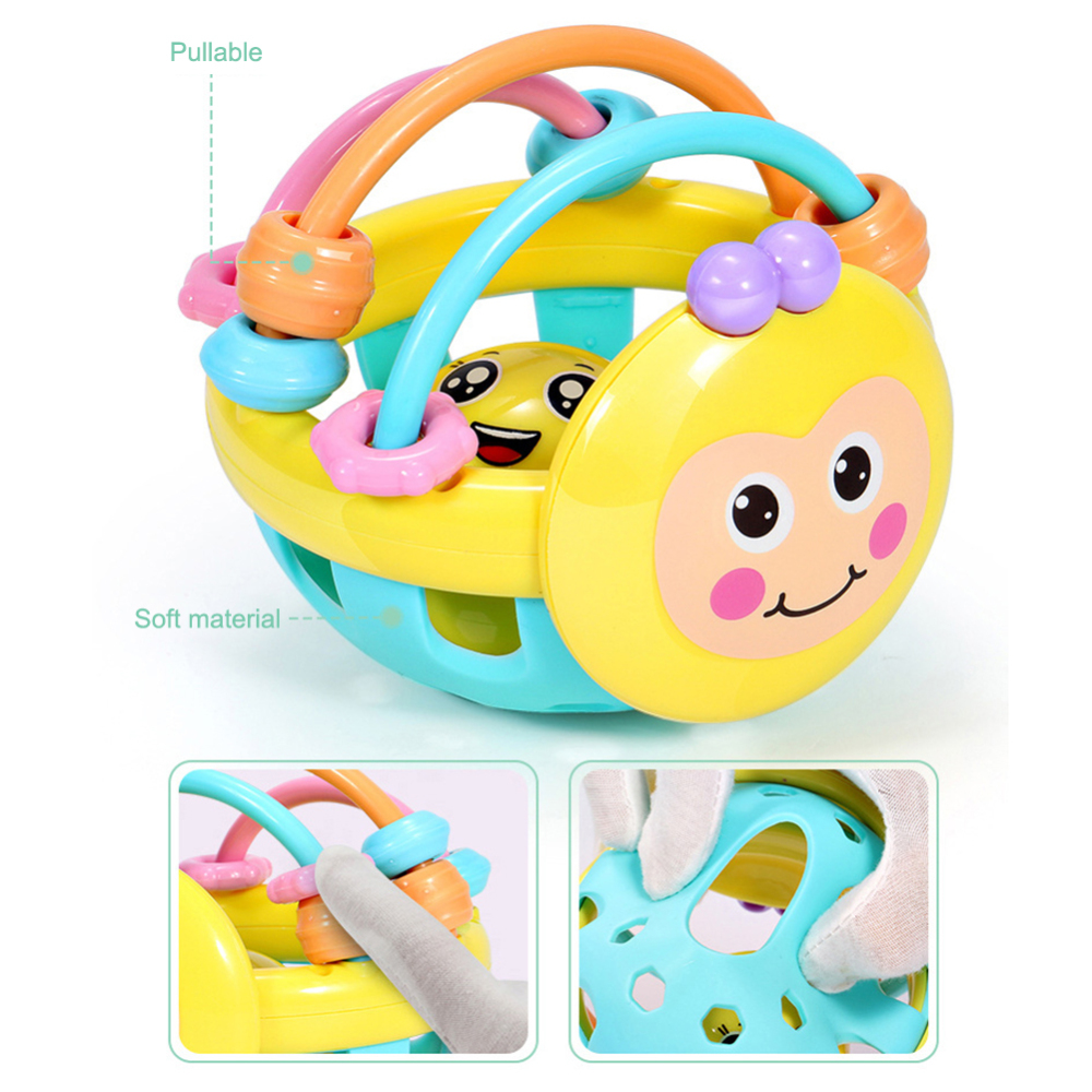 Cartoon Bee Soft Dumbbell Rubber Ball Rattle Bite Hand Hand Beating Educational Toys Kids Ball Games Gifts