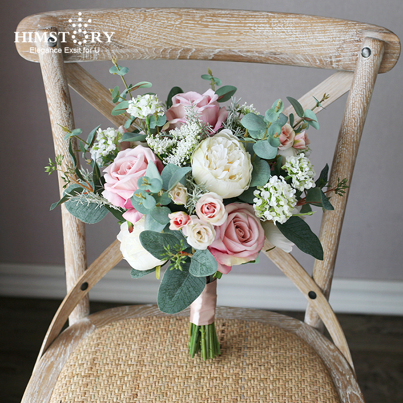 HIMSTORY Vintage Dusty Pink White Silk Roses Artificial Wedding Bouquets High SimulatioFlowers Bouquet Bridal Holder Accessories