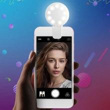 Портативный Универсальный светодиодный монопод для селфи с зажимом для мобильного телефона, заполняющий свет, лампа с автоспуском и зарядкой от usb