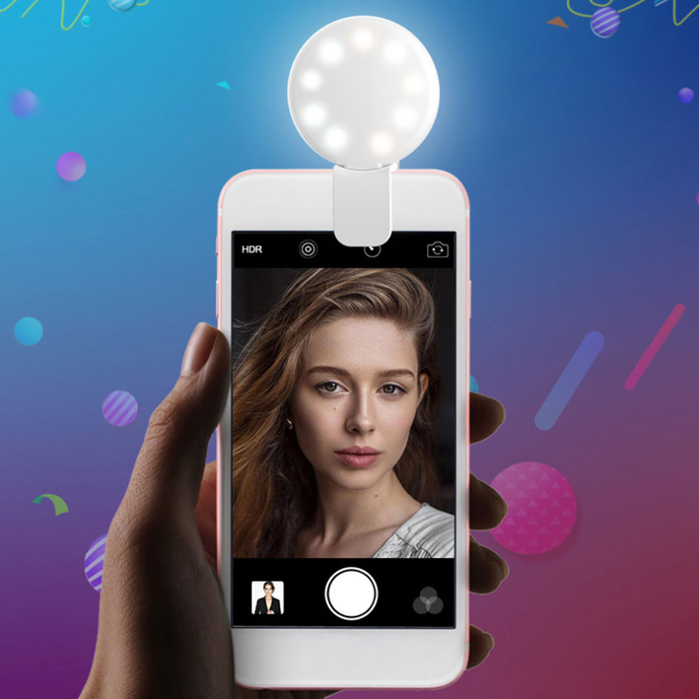 Portable Clip-on Mobile Phone Universal Selfie LED Makeup Enhancing Fill Light Self-timer Lamp USB Charging
