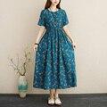 2021 Новое поступление льняные и хлопковые Свободные длинное летнее платье с цветочным принтом с затягивающими шнурками тонкие женские доро...