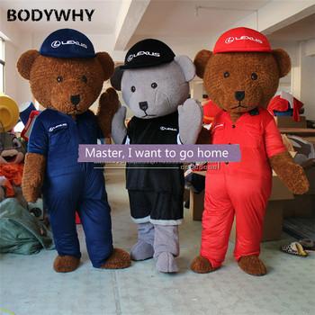 Niedźwiedź lalki z kreskówek odzież Auto Show reklama pokaż lalka Walking niedźwiedź Grizzly nakrycia głowy kostiumy maskotki Custome innowacyjny styl tanie i dobre opinie CN (pochodzenie) Dla dorosłych Zwierzęta i błędy Headset Puppet Dress Black jacket red coat dark blue coat Custom made