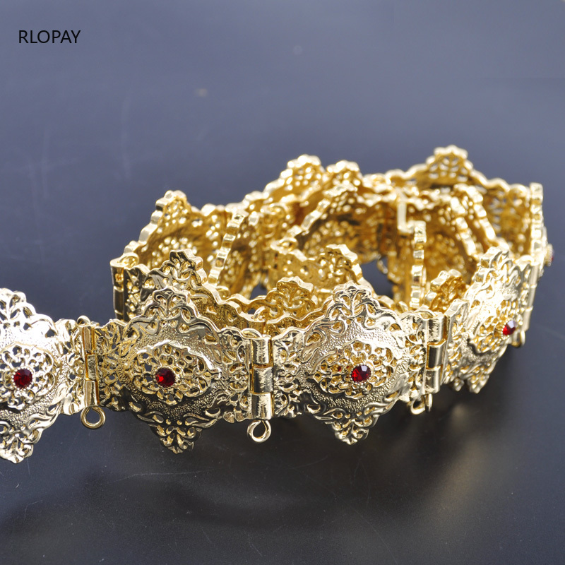 Image 5 - Moroccan Traditional Kaftan Belts In Gold Square Belt Buckles  with Hollow Flower Chain Arabic Luxury Wedding Dress BeltsBody Jewelry