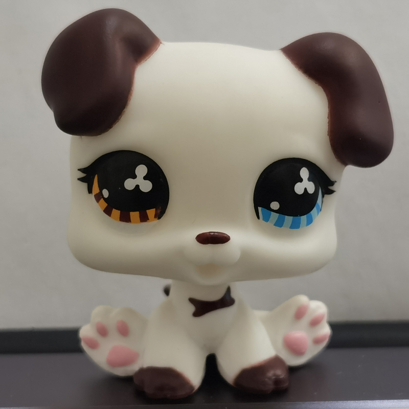 <font><b>LPS</b></font> <font><b>CAT</b></font> 3CM MINI Custom-made <font><b>Baby</b></font> Puppy for Pet Shop Toy Great Dane #577 Dog White Body Clover Eyes 1 Inch LPSCB image