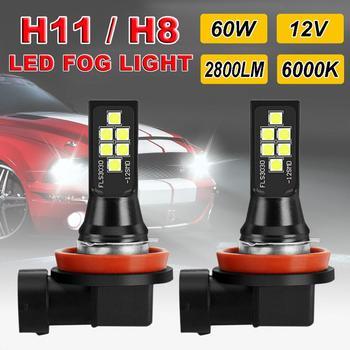2pcs H8 H11 LED Car Fog Light Canbus Lamp 6000K White Error Free Auto Bulbs 12V